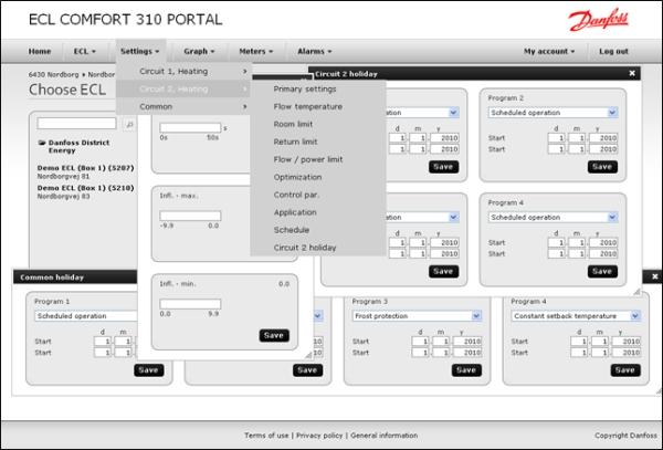 Danfoss ECL 310 Portal aliarmų pateikimas