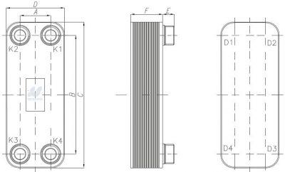 Secespol L-LINE lituoto plokštelinio šilumokaičio matmenys